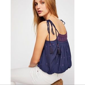 FREE PEOPLE | Eternal Love Embroidered Tie Top M